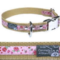 DOG COLLAR - ROSES AND HEARTS ON PINK